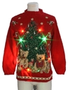 Unisex Vintage Multicolor Lightup Bear-riffic Ugly Christmas Sweater