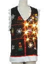 Unisex Hand Embellished Lightup Ugly Christmas Sweater Vest