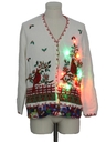 Unisex Hand Embellished Multicolor Lightup Ugly Christmas Cardigan Sweater