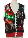 Unisex Hand Embellished Multicolor Lightup Bear-riffic Ugly Christmas Sweater Vest