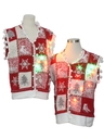 Unisex Hand Embellished Multicolor Lightup Ugly Christmas Matching Set of Sweater Vests