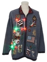 Unisex Multicolor Lightup Patriotic Country Kitsch Ugly Christmas Sweater