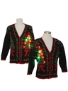 Unisex Matching Set of Two Multicolor Lightup Ugly Christmas Cardigan Sweaters
