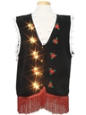 Unisex Hand Embellished White Lights Lightup Ugly Christmas Sweater Vest