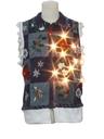 Unisex Hand Embellished Lightup Ugly Christmas Sweater Vest