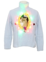 Womens Multicolor Lightup Catmus Ugly Christmas Sweater