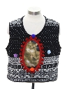 Womens Vintage Catmus Ugly Christmas Sweater Vest