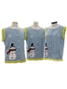 Unisex Hand Embellished Ugly Christmas Matching Set of Three Sweater Vests