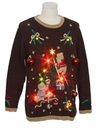 Unisex Bear-iffic Multicolor Lightup Hand Embellished Ugly Christmas Vintage Sweater