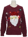 Unisex Hand Embellished Red Lightup Ugly Christmas Vintage Sweater