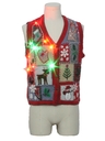 Womens Country Kitsch Multicolor Lightup Ugly Christmas Sweater Vest
