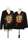 Unisex Multicolor Lightup Krampus Ugly Christmas Matching Sweater Set