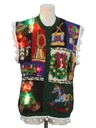 Unisex Vintage Hand Embellished Multicolor Lightup Ugly Christmas Sweater Vest