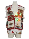 Unisex Vintage Hand Embellished Multicolor Lightup Country Kitsch Ugly Christmas Sweater Vest