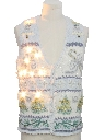 Unisex Vintage White Lightup Ugly Christmas Sweater Vest