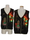 Unisex Multicolor Lightup Ugly Christmas Matching Set of Sweater Vests