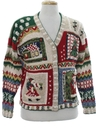 Womens Country Kitsch Ugly Christmas Cardigan Sweater