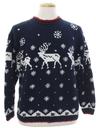 Unisex Ugly Christmas Snowflake and Reindeer Sweater