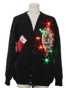 Mens Multicolor Lightup Krampus Ugly Christmas Cardigan Sweater