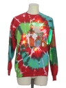 Unisex Multicolor Lightup  Hand Tie Dyed Ugly Christmas Sweatshirt
