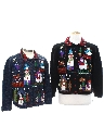 Womens Country Kitsch Style Ugly Christmas Matching Set of Sweaters