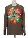 Mens Multicolor Lightup Krampus Wool Ugly Christmas Sweater