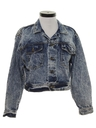 Womens Totally 80s Acid Washed Denim Jeans Jacket