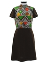 Womens Mod Op-Art Geometric Knit Dress