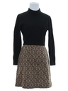 Womens Mod Knit Op-Art Mini Dress
