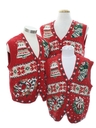 Womens Ugly Christmas Matching Set of Three Sweater Vests