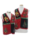 Womens Ugly Christmas Matching Set of Sweater Vests