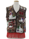 Unisex Country Kitsch Hand Embellished Ugly Christmas Sweater Vest