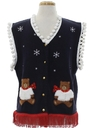 Unisex Bear-riffic Hand Embellished Ugly Christmas Sweater Vest