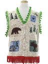 Unisex Hand Embellished Country Kitsch Style Ugly Christmas Sweater Vest