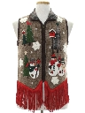 Unisex Hand Embellished Country Kitsch Ugly Christmas Sweater Vest
