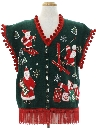 Unisex Hand Embellished Skiing Santa Ugly Christmas Sweater Vest
