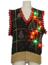 Unisex Multicolor Lightup Hand Embellished Ugly Christmas Sweater Vest