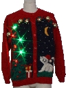 Unisex Cat-Tastic Multicolor Lightup Hand Embellished Ugly Christmas Sweater