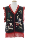 Unisex Bear-riffic Hand Embellished Bear-riffic Ugly Christmas Sweater Vest