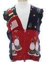 Unisex Hand Made Patriotic Patchwork Ugly Christmas Sweater Vest