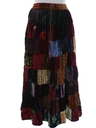 Womens Patchwork Velvet Hippie Skirt