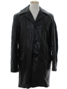 Mens Leather Trenchcoat Overcoat Jacket