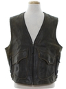 Mens Leather Motorycle Biker Vest