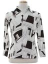 Mens/Boys Abstract Geometric Print Disco Shirt