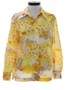 Womens Hippie Style Mod Pow-Flower Print Disco Shirt