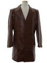 Mens Leather Mod Trench Coat