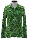 Womens Pow-Flower Hippie Style Print Disco Shirt