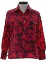 Womens Mod Pow-Flower Print Disco Style Ski Shirt