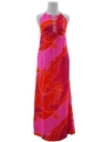 Womens Mod Hawaiian Halter Maxi Dress