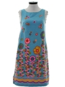 Womens Mod A-Line Print Dress